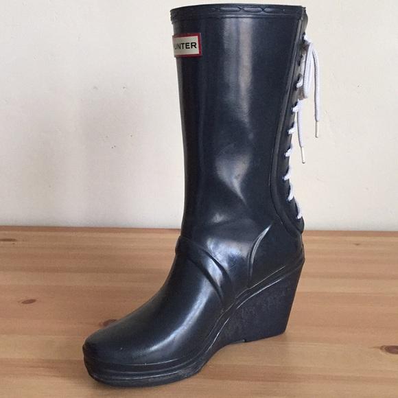 c4aff5051 Hunter Shoes | Verbier Wedge Laceup Rain Boots Navy Blue | Poshmark